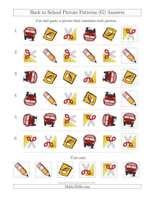 The Back to School Picture Patterns with Shape and Rotation Attributes (G) Math Worksheet Page 2
