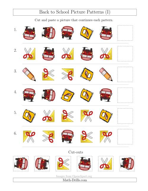 The Back to School Picture Patterns with Shape and Rotation Attributes (I) Math Worksheet