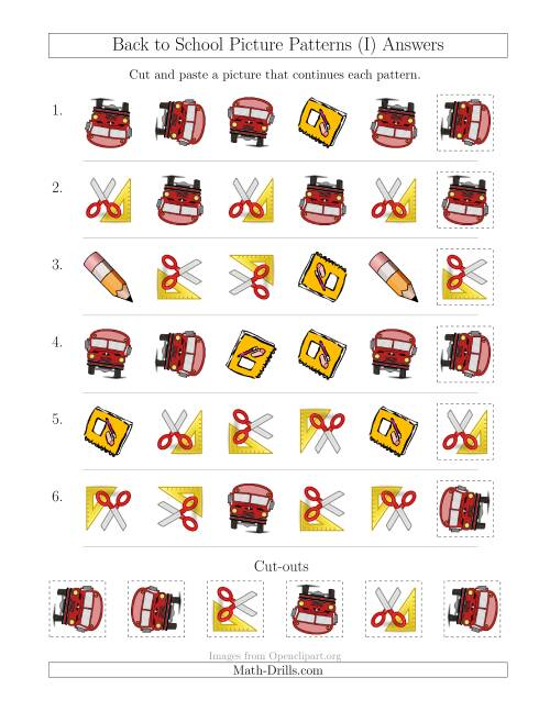 The Back to School Picture Patterns with Shape and Rotation Attributes (I) Math Worksheet Page 2