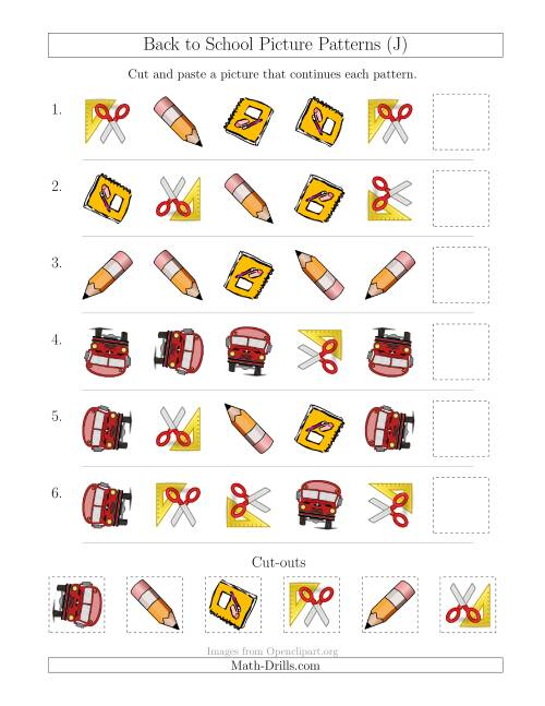 The Back to School Picture Patterns with Shape and Rotation Attributes (J) Math Worksheet