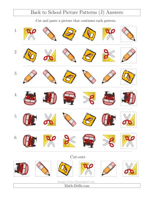 The Back to School Picture Patterns with Shape and Rotation Attributes (J) Math Worksheet Page 2