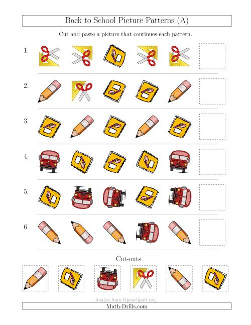 The Back to School Picture Patterns with Shape and Rotation Attributes (All) Math Worksheet