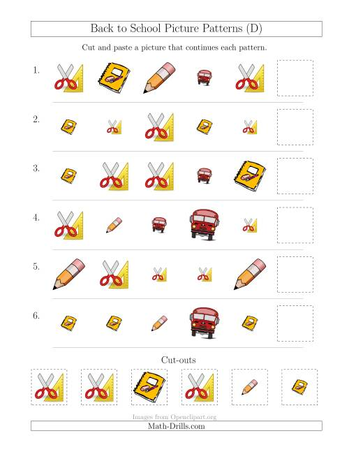 The Back to School Picture Patterns with Shape and Size Attributes (D) Math Worksheet