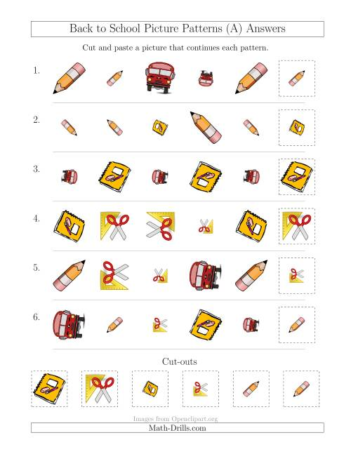 The Back to School Picture Patterns with Shape, Size and Rotation Attributes (A) Math Worksheet Page 2