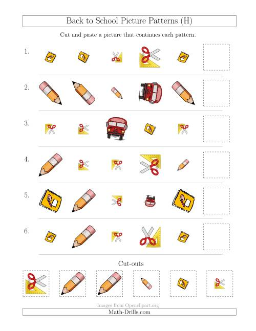 The Back to School Picture Patterns with Shape, Size and Rotation Attributes (H) Math Worksheet