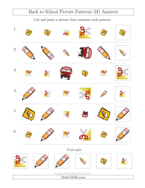 The Back to School Picture Patterns with Shape, Size and Rotation Attributes (H) Math Worksheet Page 2