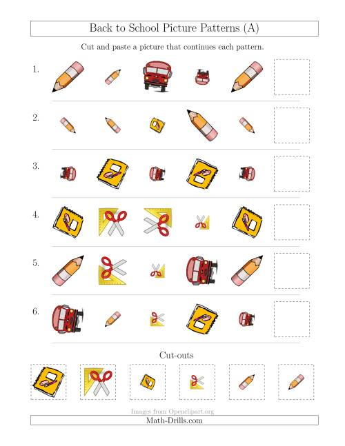 The Back to School Picture Patterns with Shape, Size and Rotation Attributes (All) Math Worksheet