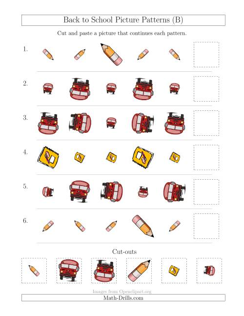 The Back to School Picture Patterns with Size and Rotation Attributes (B) Math Worksheet