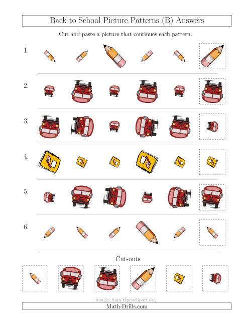 The Back to School Picture Patterns with Size and Rotation Attributes (B) Math Worksheet Page 2