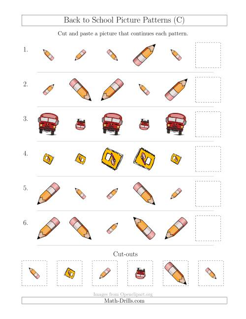 back to school picture patterns with size and rotation attributes c patterning worksheet. Black Bedroom Furniture Sets. Home Design Ideas
