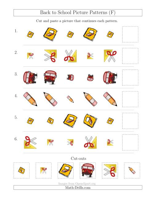 The Back to School Picture Patterns with Size and Rotation Attributes (F) Math Worksheet