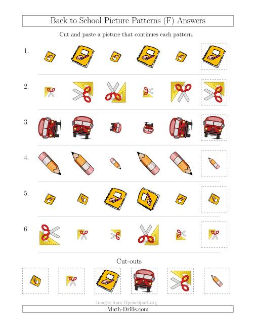 The Back to School Picture Patterns with Size and Rotation Attributes (F) Math Worksheet Page 2