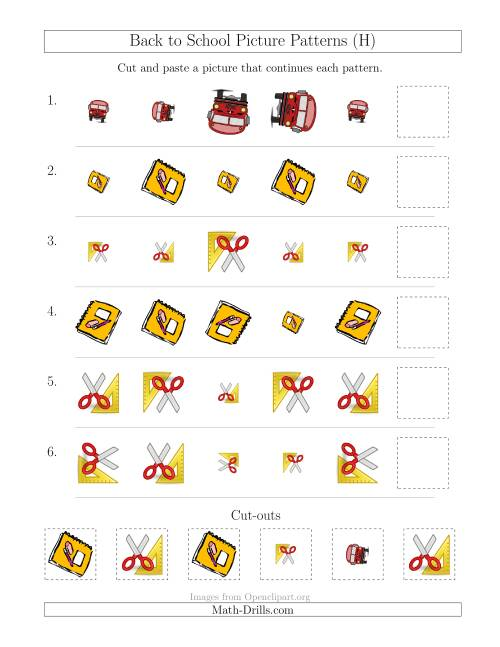 The Back to School Picture Patterns with Size and Rotation Attributes (H) Math Worksheet