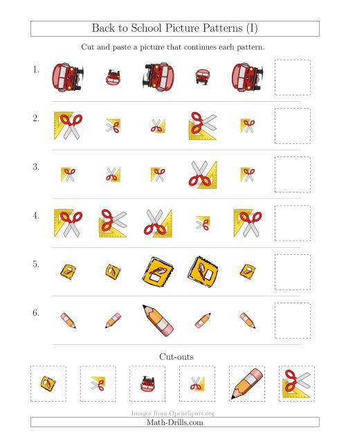 The Back to School Picture Patterns with Size and Rotation Attributes (I) Math Worksheet