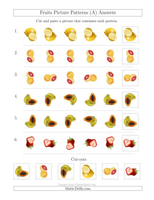 The Fruits Picture Patterns with Rotation Attribute Only (A) Math Worksheet Page 2