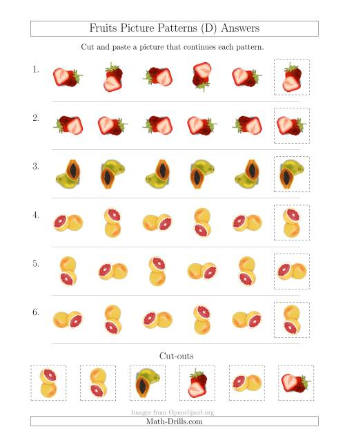 The Fruits Picture Patterns with Rotation Attribute Only (D) Math Worksheet Page 2