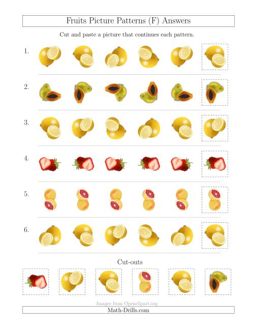 The Fruits Picture Patterns with Rotation Attribute Only (F) Math Worksheet Page 2