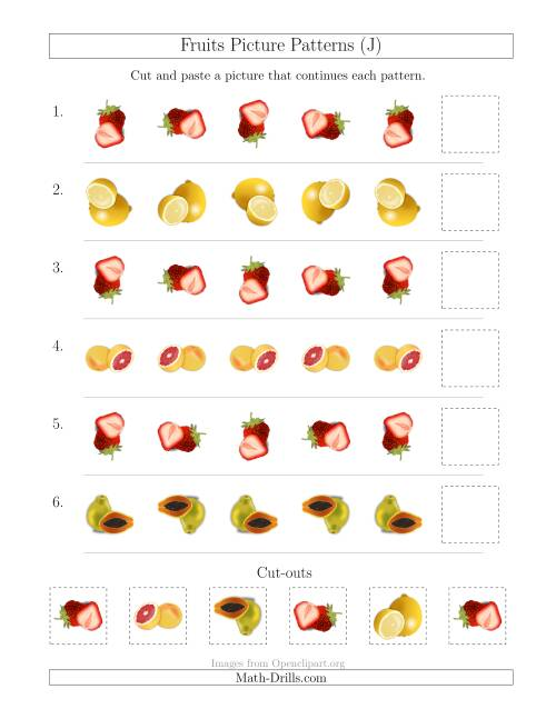 The Fruits Picture Patterns with Rotation Attribute Only (J) Math Worksheet