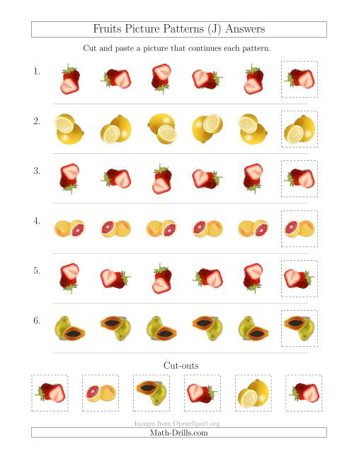 The Fruits Picture Patterns with Rotation Attribute Only (J) Math Worksheet Page 2