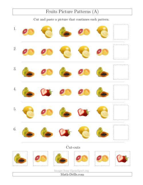 fruits picture patterns with shape attribute only a. Black Bedroom Furniture Sets. Home Design Ideas