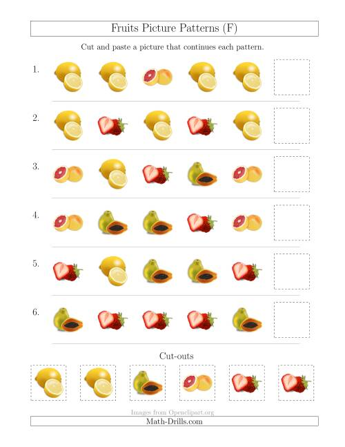 The Fruits Picture Patterns with Shape Attribute Only (F) Math Worksheet