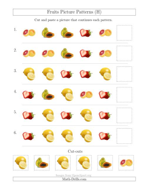 The Fruits Picture Patterns with Shape Attribute Only (H) Math Worksheet