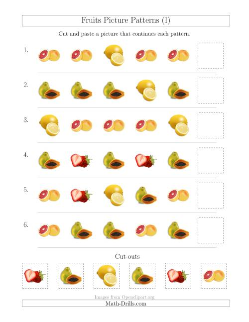 The Fruits Picture Patterns with Shape Attribute Only (I) Math Worksheet
