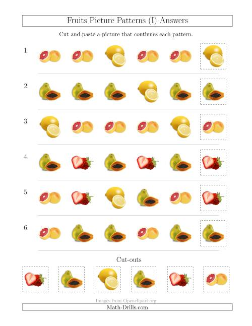 The Fruits Picture Patterns with Shape Attribute Only (I) Math Worksheet Page 2