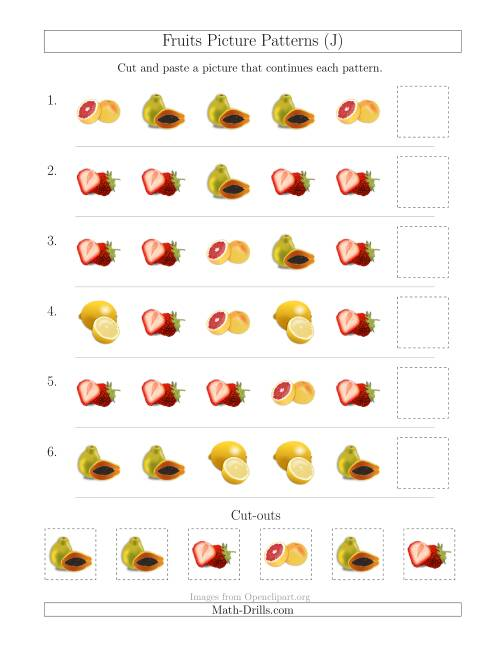 The Fruits Picture Patterns with Shape Attribute Only (J) Math Worksheet