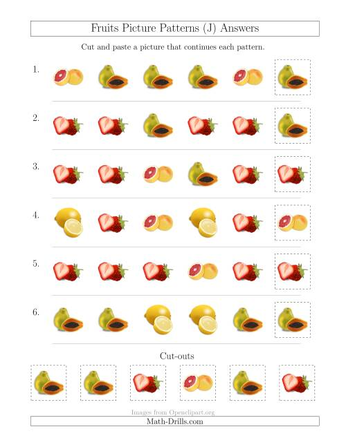 The Fruits Picture Patterns with Shape Attribute Only (J) Math Worksheet Page 2