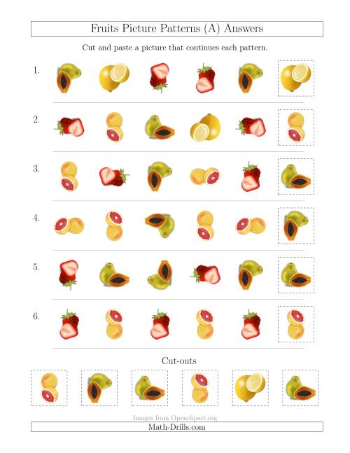 The Fruits Picture Patterns with Shape and Rotation Attributes (A) Math Worksheet Page 2
