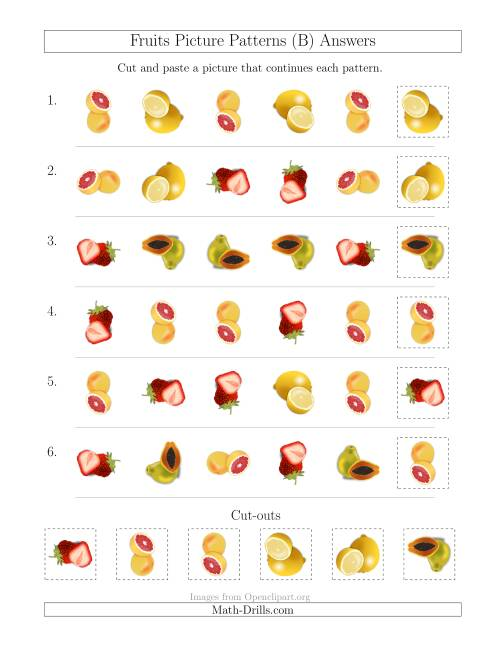 The Fruits Picture Patterns with Shape and Rotation Attributes (B) Math Worksheet Page 2