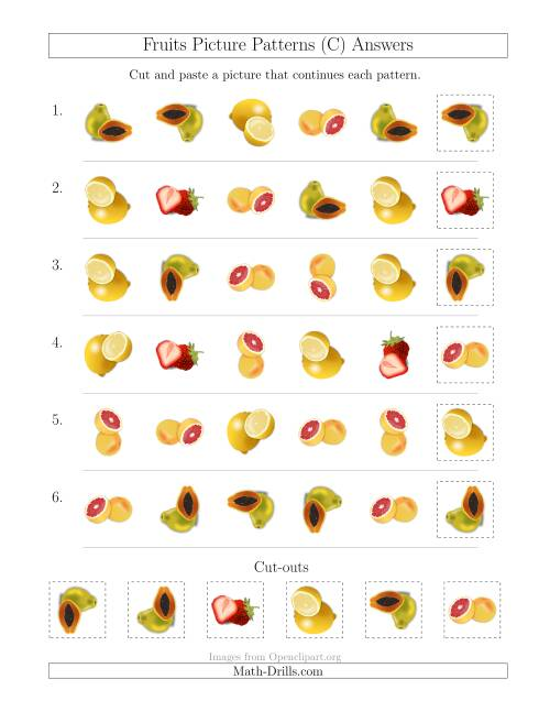 The Fruits Picture Patterns with Shape and Rotation Attributes (C) Math Worksheet Page 2