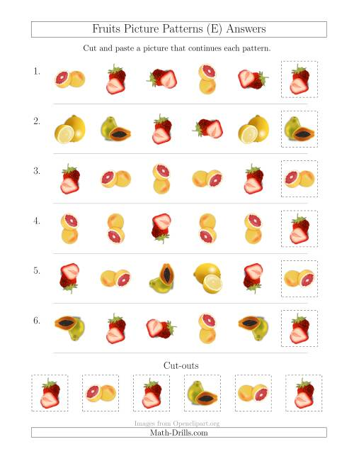 The Fruits Picture Patterns with Shape and Rotation Attributes (E) Math Worksheet Page 2