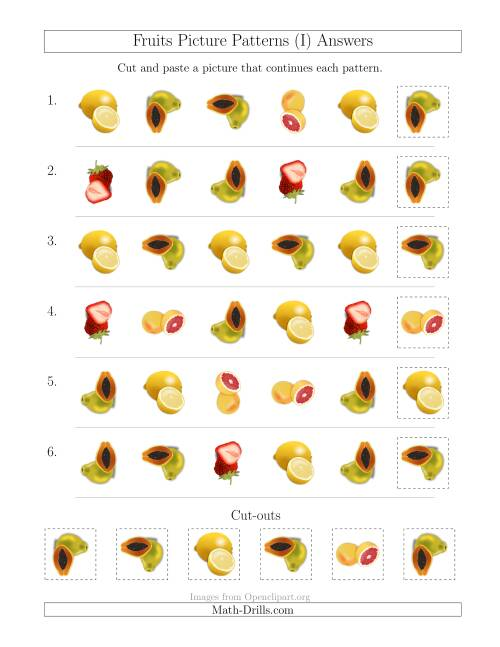 The Fruits Picture Patterns with Shape and Rotation Attributes (I) Math Worksheet Page 2