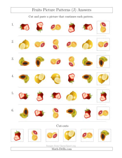 The Fruits Picture Patterns with Shape and Rotation Attributes (J) Math Worksheet Page 2
