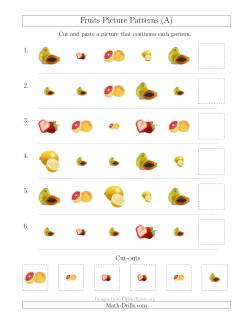 Fruits Picture Patterns with Shape and Size Attributes (A)