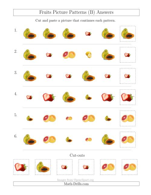 The Fruits Picture Patterns with Shape and Size Attributes (B) Math Worksheet Page 2