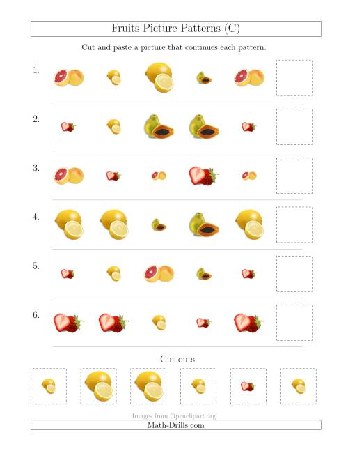 The Fruits Picture Patterns with Shape and Size Attributes (C) Math Worksheet