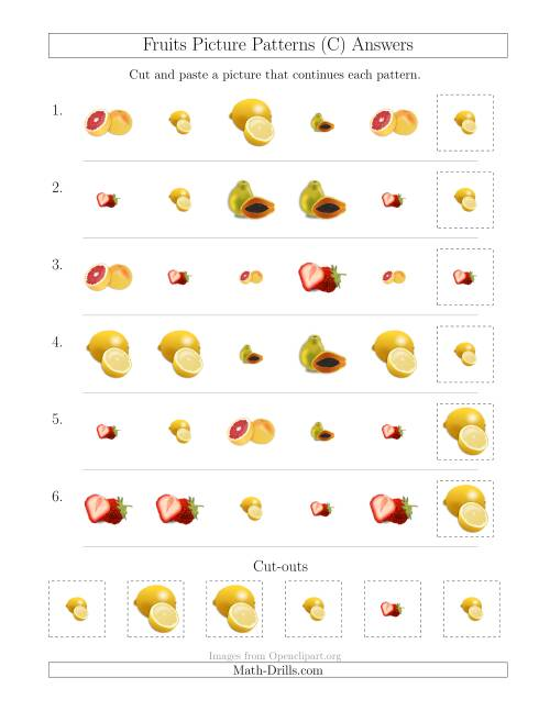 The Fruits Picture Patterns with Shape and Size Attributes (C) Math Worksheet Page 2