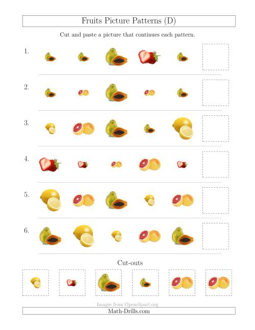 The Fruits Picture Patterns with Shape and Size Attributes (D) Math Worksheet