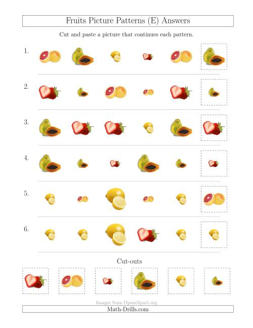 The Fruits Picture Patterns with Shape and Size Attributes (E) Math Worksheet Page 2
