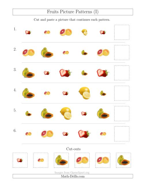 The Fruits Picture Patterns with Shape and Size Attributes (I) Math Worksheet