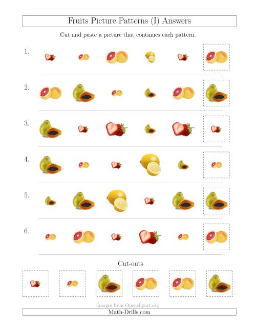 The Fruits Picture Patterns with Shape and Size Attributes (I) Math Worksheet Page 2