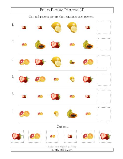 The Fruits Picture Patterns with Shape and Size Attributes (J) Math Worksheet