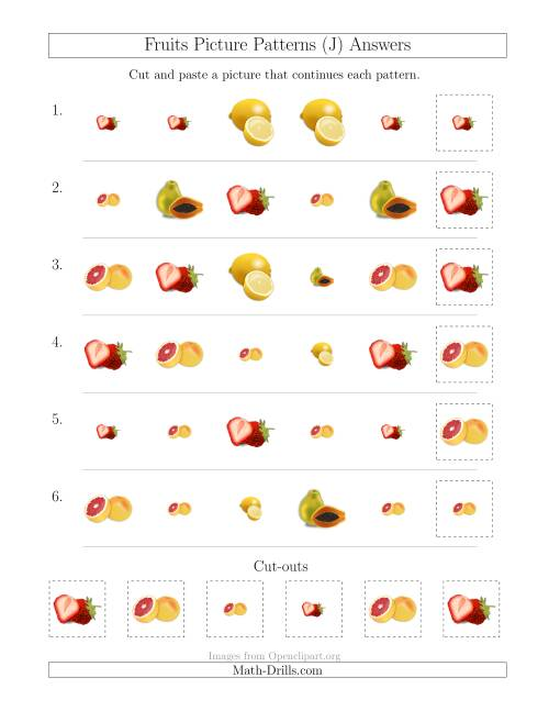 The Fruits Picture Patterns with Shape and Size Attributes (J) Math Worksheet Page 2