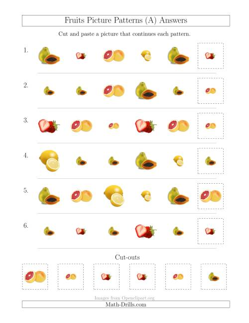 The Fruits Picture Patterns with Shape and Size Attributes (All) Math Worksheet Page 2