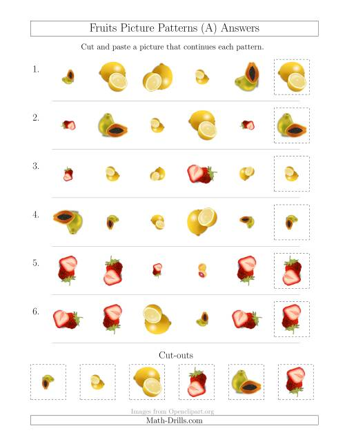 The Fruits Picture Patterns with Shape, Size and Rotation Attributes (All) Math Worksheet Page 2