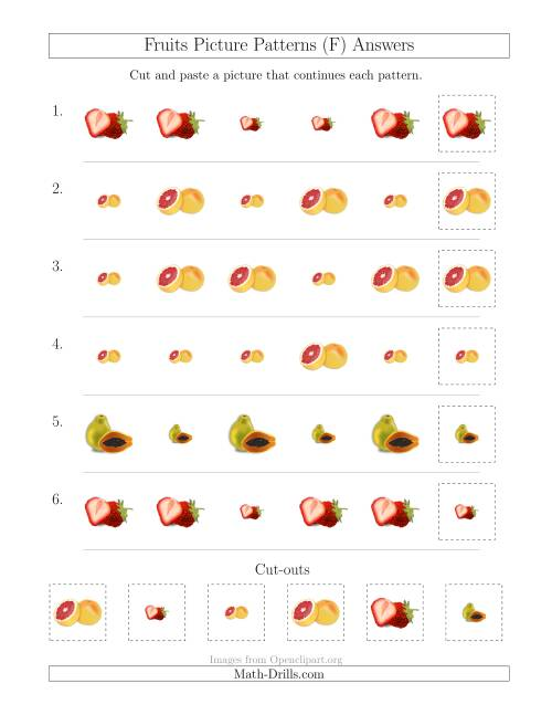 The Fruits Picture Patterns with Size Attribute Only (F) Math Worksheet Page 2