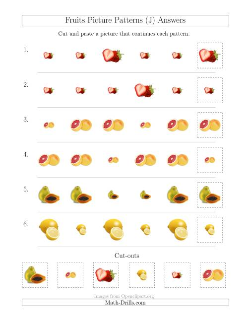 The Fruits Picture Patterns with Size Attribute Only (J) Math Worksheet Page 2